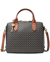 Fossil Fiona Printed Small Satchel Black Stripe