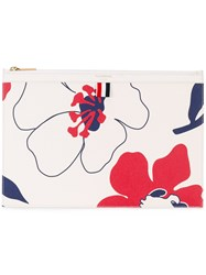 Thom Browne Floral Print Clutch Women Cotton Leather One Size White
