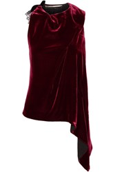 Roland Mouret Colridge Asymmetric Lace Trimmed Velvet Top Burgundy