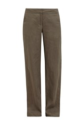 Great Plains Shropshire Linen Straight Leg Trousers Brown