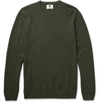 Nn.07 Nn07 Albert Basketweave Cotton Sweater Army Green
