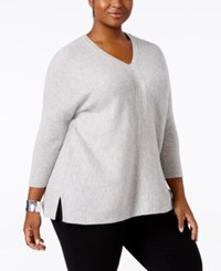 Charter Club Plus Size Cashmere Boxy Pullover Sweater Only At Macy's Heather Crystal