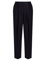 Acne Studios Milica Cropped Crepe Trousers Navy
