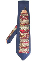 Moschino Vintage Patterned Tie Blue