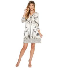 Hale Bob Fierce Creatures Matte Microfiber Jersey Dress Ivory Women's Dress White