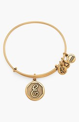 Women's Alex And Ani 'Initial' Adjustable Wire Bangle E Russian Gold