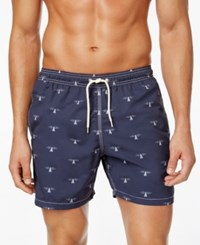 Barbour Beacon Slim Fit Graphic Print Swim Trunks Navy