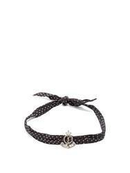 Saint Laurent Polka Dot Silk Bracelet Black
