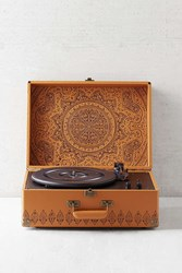 Crosley X Uo Keepsake Embossed Portable Usb Vinyl Record Player Brown
