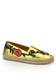 Gucci Pilar Floral Embroidered Metallic Leather Espadrilles Gold Multi
