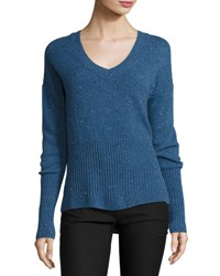 Derek Lam Melange Cashmere V Neck Sweater Blue