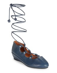 Gentle Souls Nita Lace Up Demi Wedge Shoes Navy Blue