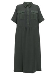 Rochas Satin Trim Crepe Midi Shirtdress Green