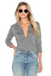 Velvet By Graham And Spencer Dara Long Sleeve Half Button Top Gray