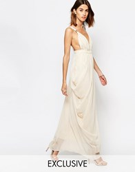 Vila Plunge Front Grecian Maxi Dress Pink Tint