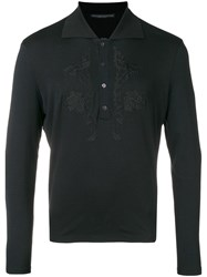 Ermanno Scervino Embroidered Polo Shirt Black