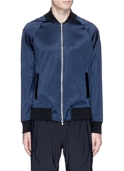 Athletic Propulsion Labs 'The Perfect' Stretch Satin Bomber Jacket Blue