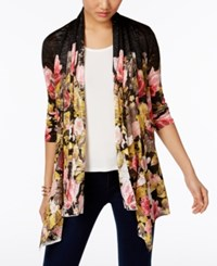 Inc International Concepts Draped Floral Print Cardigan Only At Macy's Deep Black