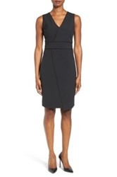 T Tahari Dolce Asymmetric Pinstripe Front Sheath Dress Black