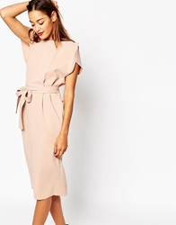 Asos Belted Dress With Split Cap Sleeve And Pencil Skirt Nude