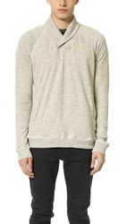 Splendid Thermal Lined Shawl Collar Sweatshirt Heather Grey