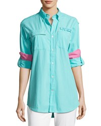 Southern Tide Sullivan Woven Fishing Shirt Blue