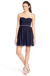 Junior Women's A. Drea Embellished Strapless Skater Dress Navy