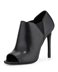Prada Open Toe Leather High Heel Bootie Nero Black Size 39.5B 9.5B