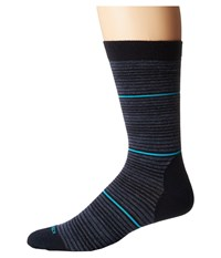 Icebreaker Lifestyle Ultra Light Crew Gradient Stripe And Pop Admiral Fathom Heather Capri Men's Crew Cut Socks Shoes Black
