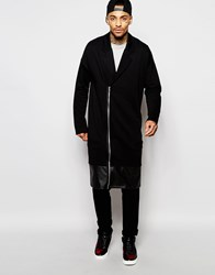 Asos Extreme Longline Oversized Jersey Duster Coat With Faux Leather Hem Black