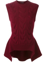 Alexander Mcqueen Cable Knit Peplum Top Red