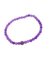 Lord And Taylor Purple Bead Amethyst Stone Stretch Bracelet