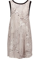 Enza Costa Tent Printed Voile Mini Dress Light Gray