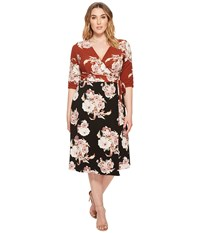 Kiyonna Wendy Wrap Dress Sienna Bouquet Women's Dress Multi