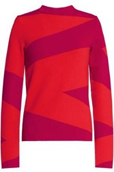 Oscar De La Renta Two Tone Stretch Knit Sweater Tomato Red