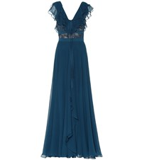 Elie Saab Silk Blend And Lace Gown Blue