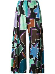 Issey Miyake Pleats Please By Geometric Print Cropped Trousers Women Polyester 2