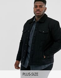 Only And Sons Borg Lined Denim Jacket In Black