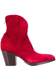 Rocco P. Chunky Heel Boots Red