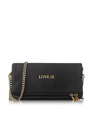 Zadig And Voltaire Black Leather Rock Words Foldable Clutch
