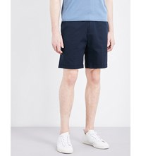 Sandro Relaxed Fit Mid Rise Stretch Cotton Shorts Navy Blue