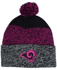47 Brand '47 Los Angeles Rams Static Cuff Pom Knit Hat Black Pink Heather