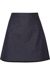 Victoria Beckham Silk Trimmed Stretch Denim Mini Skirt Dark Denim