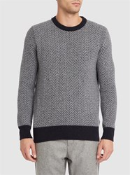 Knowledge Cotton Apparel Grey Zig Zag Round Neck Wool Sweater