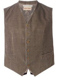 Romeo Gigli Vintage Patterned Corduroy Waistcoat Nude And Neutrals