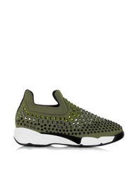 Pinko Gem Turbine Khaki Neoprene W Light Green Strass Sneaker