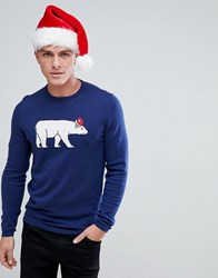 Tom Tailor Christmas Jumper With Polar Bear Navy