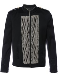 Garcons Infideles Embroidered Front Military Jacket Men Cotton 48 Black