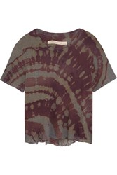 Raquel Allegra Distressed Tie Dyed Cotton Blend Jersey T Shirt Army Green