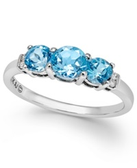 Macy's Blue Topaz 1 1 4 Ct. T.W. And Diamond Accent Three Stone Ring In Sterling Silver No Color